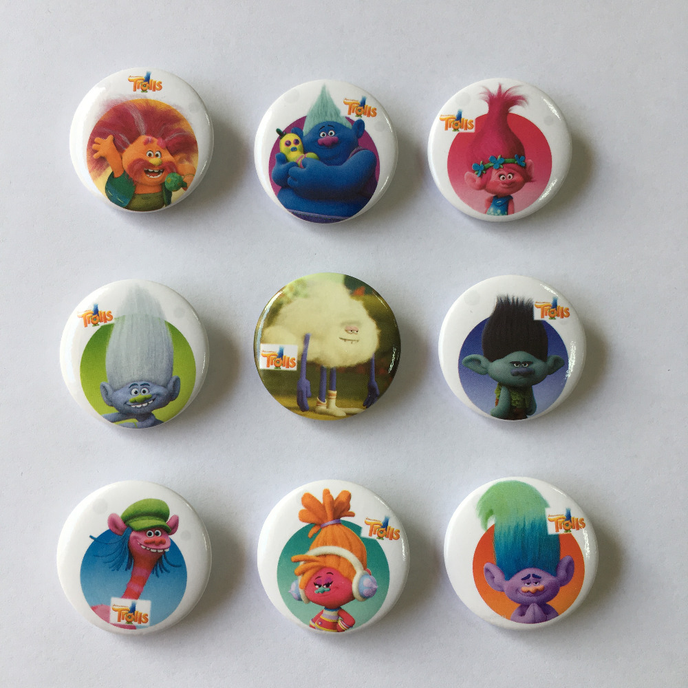 Luggage & Bags Bright 9pcs Trolls Novelty Buttons Pins Badges Round Badges,30mm Diameter,kids Accessories For Clothing/bags,christmas Party Gift