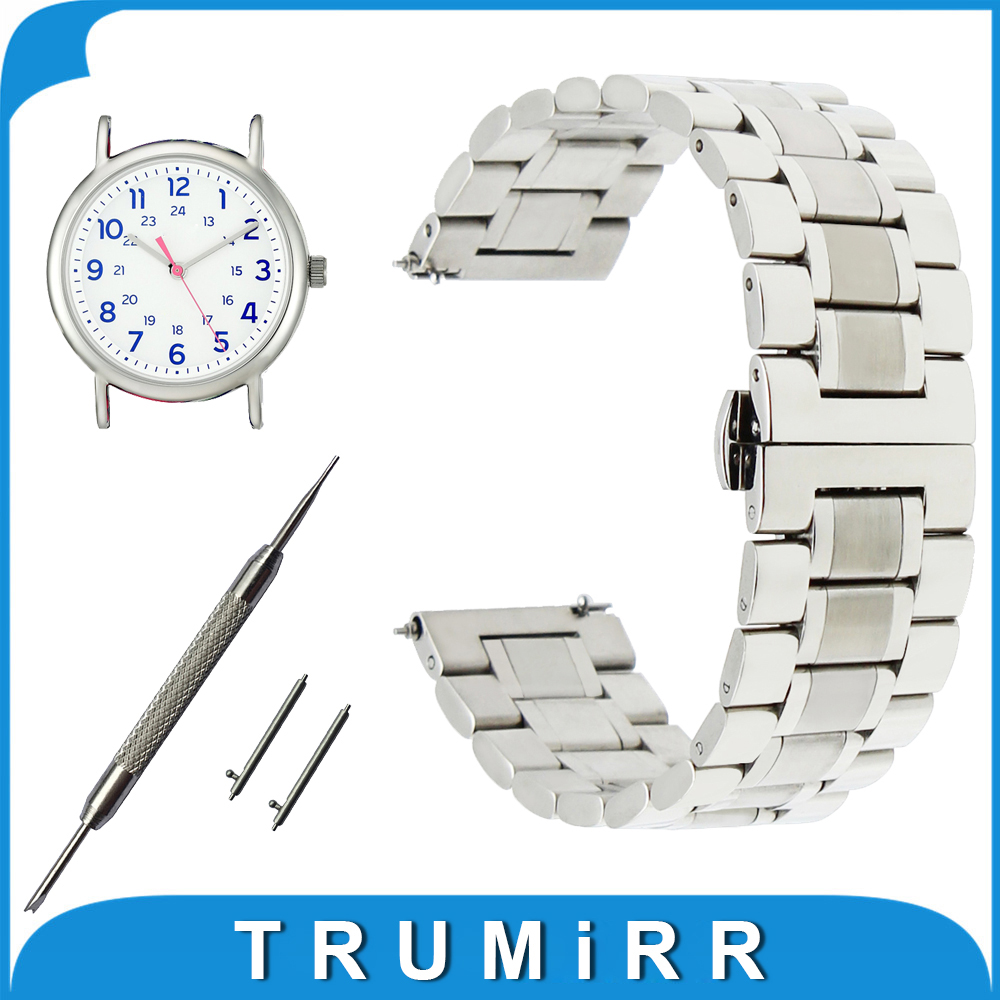 20mm 22mm Stainless Steel Watch Band for Timex Weekender Expedition Quick Release Strap Butterfly Buckle Wrist Belt Bracelet timex часы timex tw4b03500 коллекция expedition