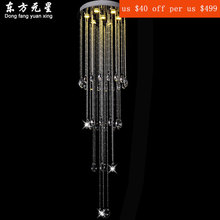 crystal chandelier LED light hanging lamp luxury House Deco crystal lustres staircase lighting