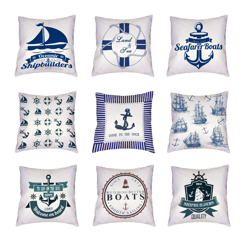 Fashion Marine Series Anchors Cushion Covers Navigation Home Decor Square Polyester Peach Skin 45x45cm White Throw Pillow Cases