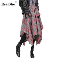 RealShe 2017 Autumn Winter Belt Slim Skirt Women Plaid Skirt High Waist Skinny Skirt Vintage Temperamental