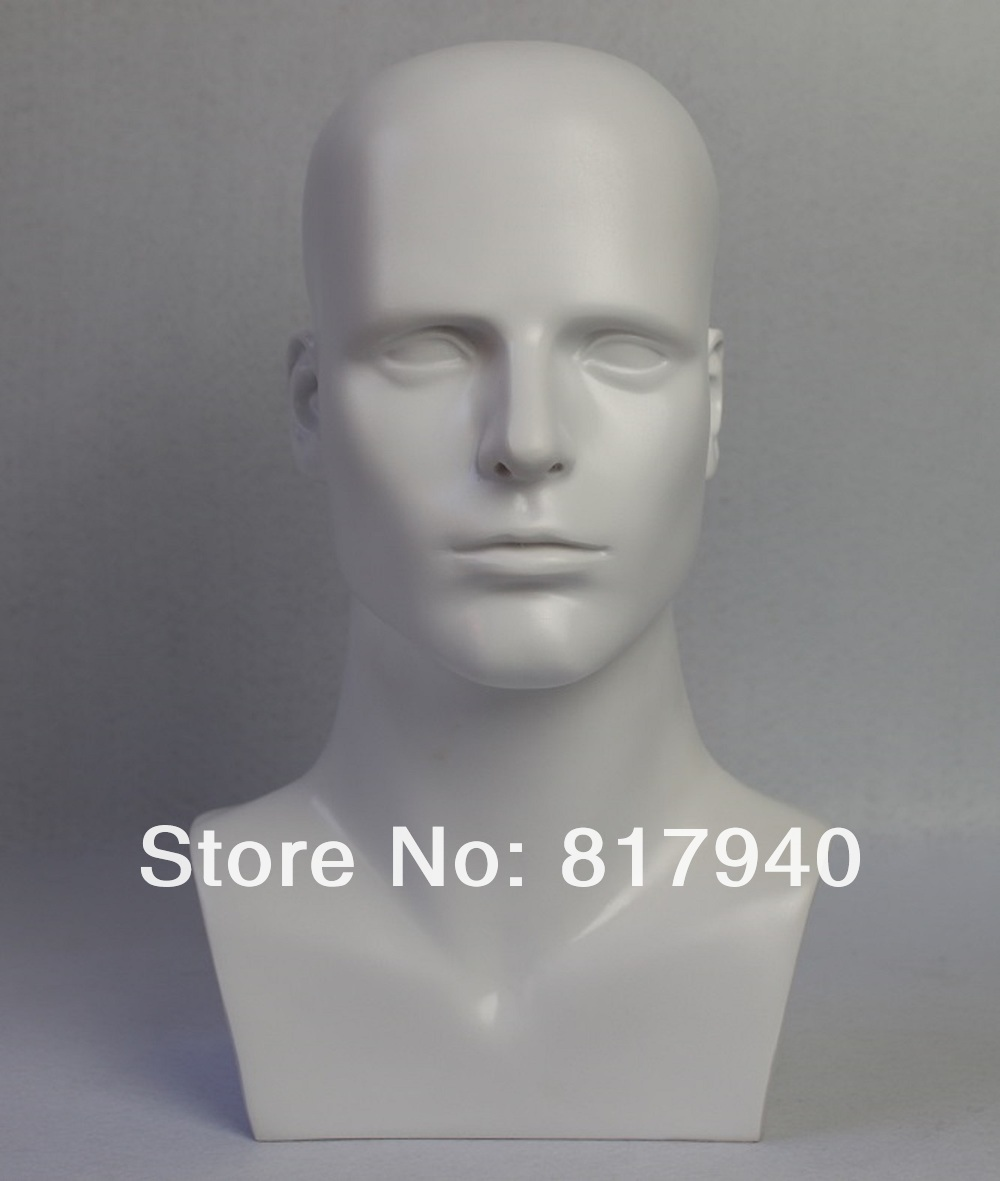 high-grade mannequin dummy head, White gloss fiberglass male head for hat/ wig/ headphones