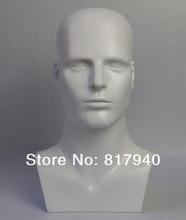 купить high-grade mannequin dummy head, White gloss fiberglass male mannequin head for hat/ wig/ headphones дешево