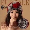 2014 nuevo Genuine Rabbit Fur Rex sombrero de la mujer casquillo de la piel Real de piel de conejo de invierno Headwear para mujer sombrero envío gratis