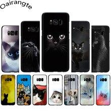 Black Cat Staring Eyes Soft Phone case for Samsung