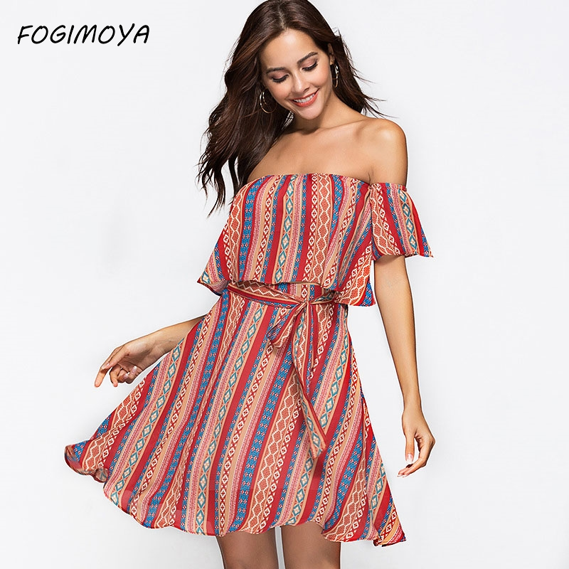 FOGIMOYA Set Women Summer 2018 Sexy Print Strapless Leaky Navel Tops And Lace Up A Line Print Skirt Casaul Two Pieces Print Sets