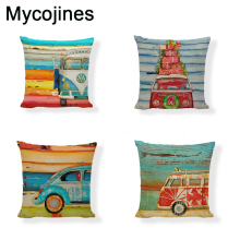Shabby Chic Car Decorative Cushion Cover Retro Truck Mini Bus Game Chair Pillow Cover 45CM Pillow Case Home Decor Sofa Bedding shabby chic car decorative cushion cover retro truck mini bus game chair pillow cover 45cm pillow case home decor sofa bedding