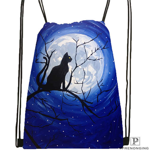 Custom Moon Cat      Drawstring Backpack Bag Cute Daypack Kids Satchel (Black Back) 31x40cm#180612-03-1