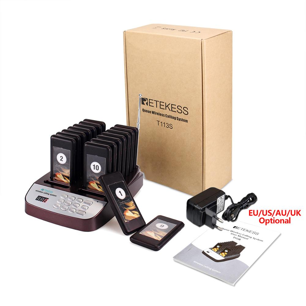 Retekess T113S Restaurant Pager Wireless Paging Queuing System 16 Call Coaster Pagers Buzzer 999 Channel Restaurant Equipments