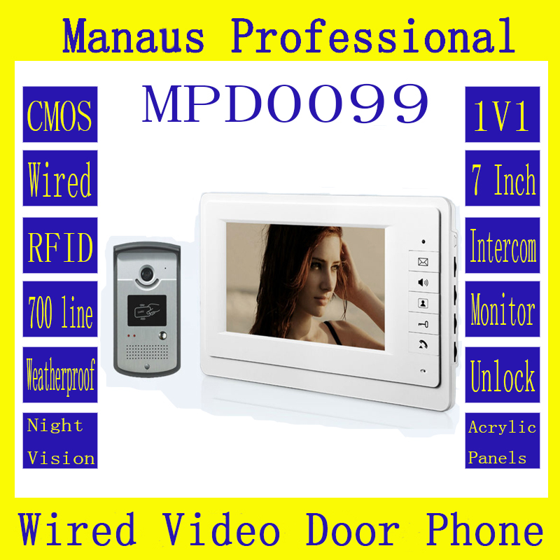 New style smart home 7 inch TFT LCD screen monitor, using indoor monitor with RFID card outdoor camera video door bell D99C 7 inch video doorbell tft lcd hd screen wired video doorphone for villa one monitor with one metal outdoor unit night vision