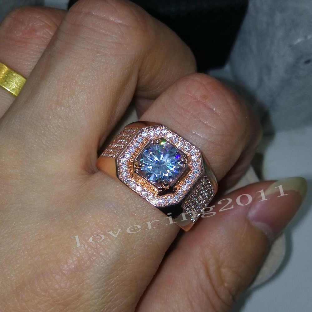 Choucong Rose Gold แหวนรอบตัด 3ct หิน 5A Zircon CZ 925 เงินสเตอร์ลิงแหวนหมั้นแหวนสำหรับชาย