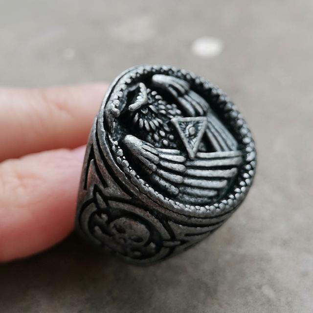 Vintage Silver Color All Seeing Eye Pyramid Illuminati Snake Owl Skull Biker Rings Mens Masonic Jewelry