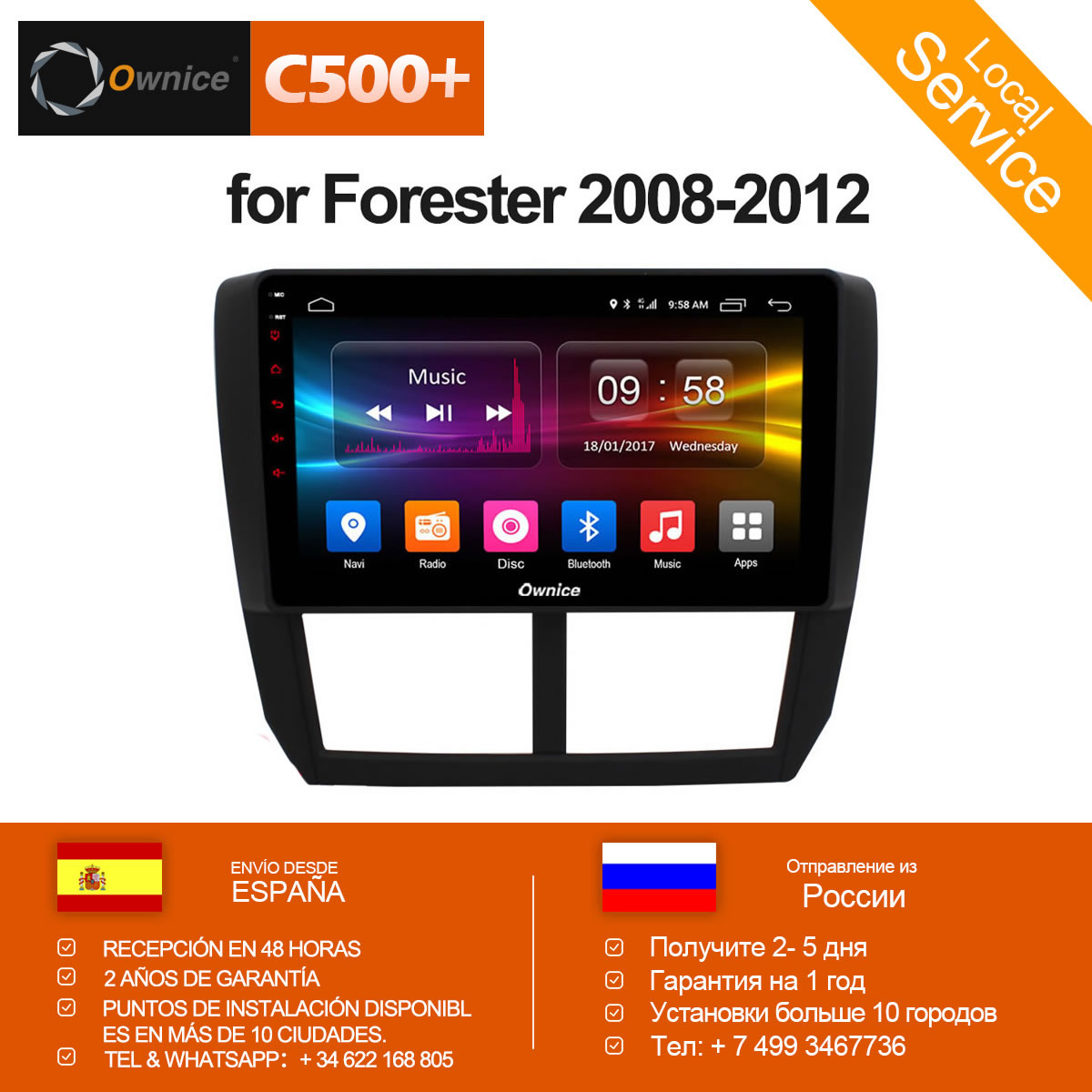 Ownice C500+ G10 Octa Core Android 8.1 32G ROM 2.5D Car DVD GPS Navi Player Radio For Subaru Forester XV WRX 2008 2009 - 2012 joying hd 9 screen multimedia player 4gb ram octa core android 8 1 car dvd gps navigator radio for subaru forester 2008 2012