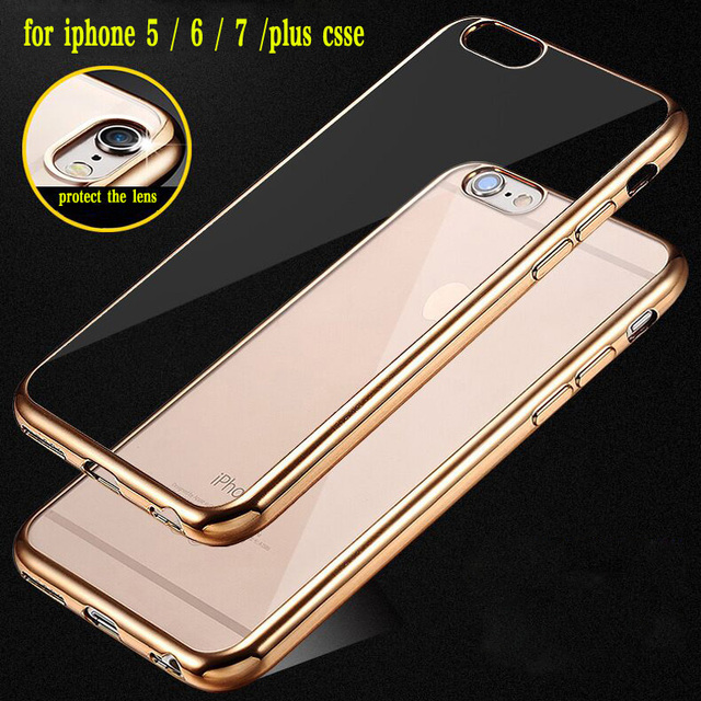 Luxury Ultra thin Plating TPU Silicone Flexible Soft Back Cover Case For Iphone 5 5S SE 6 6S 7 8 Plus X Transparent Clear Cases