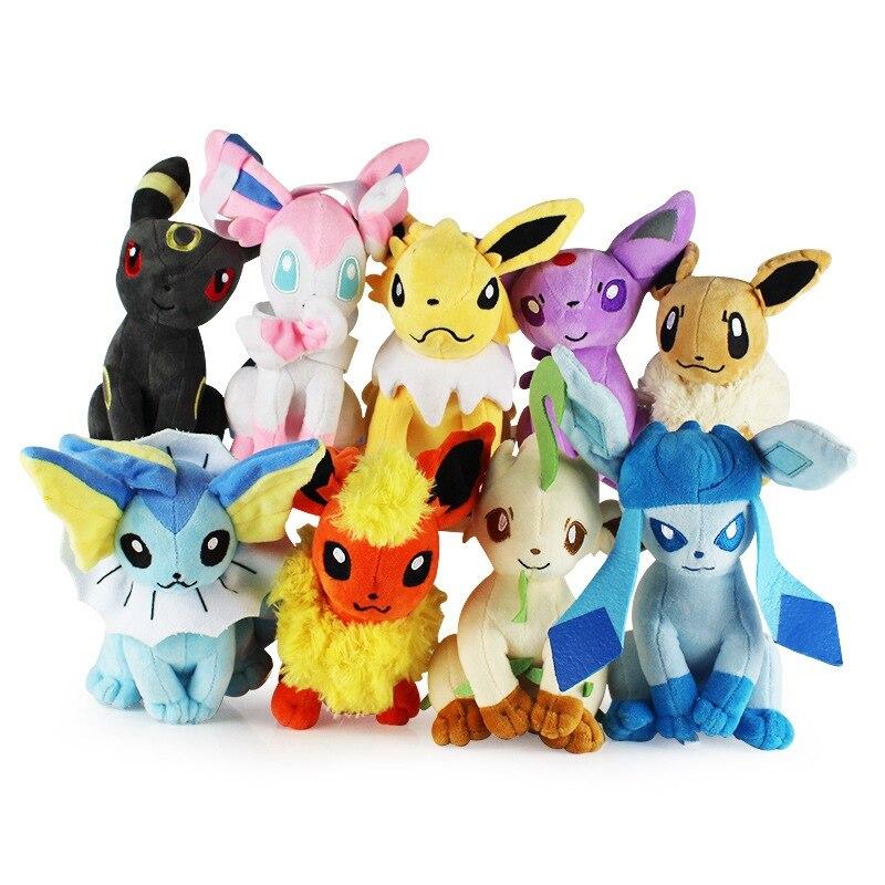9 Style 8 Plush Toys Standing Sylveon Umbreon Eevee Espeon Vaporeon Flareon Leafeon Stuffed Animal Plush Doll Toys