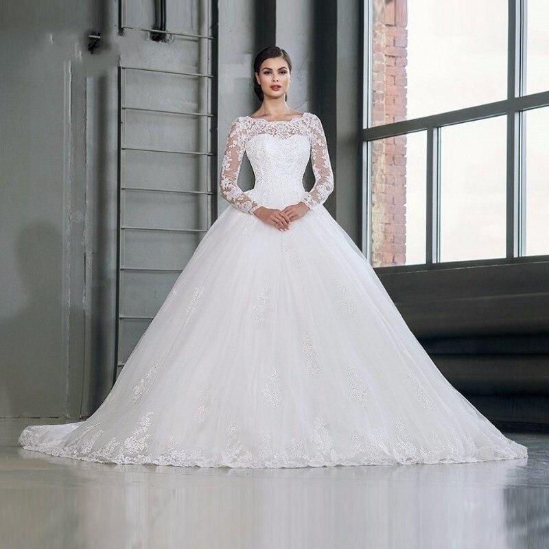 Vintange princess wedding dresses long sleeve plus size for Ball gown wedding dresses 2017
