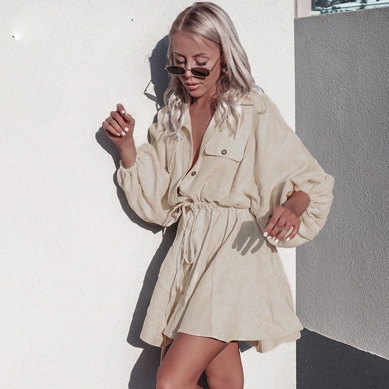 Vintage Solid Lantern Sleeve Short Mini Dress Turndown Collar Lace Up Linen Dresses Button Spring Casual Women Dress in Dresses from Women 39 s Clothing