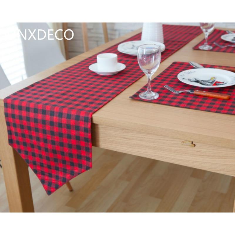 dunxdeco moderna rosso nero classico piccolo controllo artistico copertura in cotone e lino runner tovaglietta partito