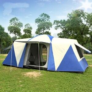 Image 1 - הגעה חדשה Ultralarge 3 שינה 6 12 אדם שימוש כפול שכבה עמיד למים ארבעה עונה Windproof קמפינג אוהל ביתן גדול