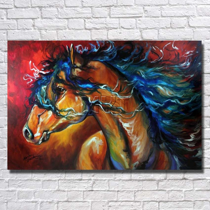 Running Swift Horse Painting Modern Wall Home Decorative Art Picture ...