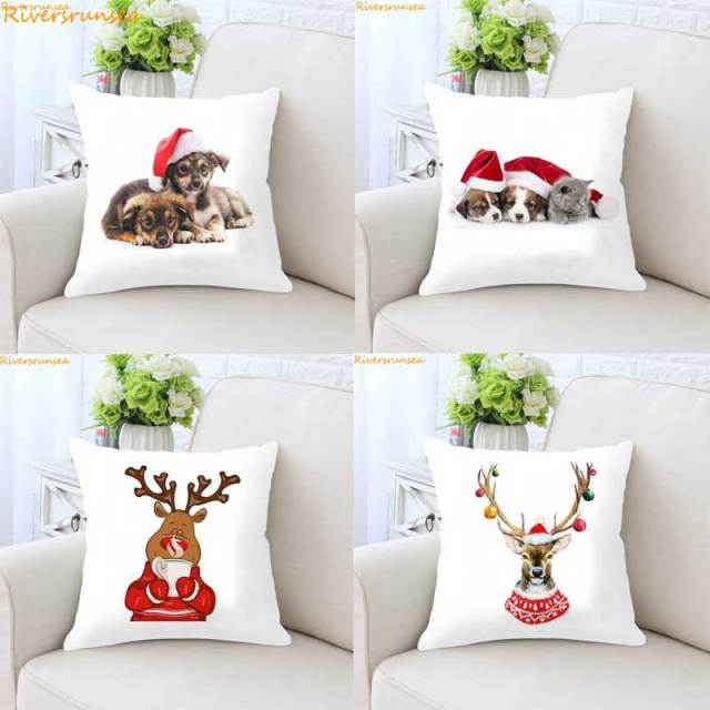 christmas style cushion santa claus xmas dog christmas home christmas decorative pillows merry xmas present kussens
