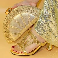 Rhinestone Wedding Shoe Gold Italian Shoe Bag Set African Matching Shoesand Bag Italian In Women Italian Shoes and Bag for Women