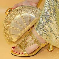 Rhinestone Wedding Shoe Gold Italian Shoe Bag Set African Matching Shoesand Bag Italian In Women Italian Shoes and Bag for Women
