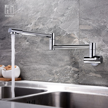 HIDEEP Quality Brass Wall Mounted Kitchen Faucet  Single Cold Single Hole Tap Sink  Faucet  Rotary Tap  Chrome or Brush Nickel