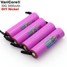 VariCore original brand new for samsung INR18650 30Q 3000mAh lithium battery inr18650 powered rechargeable battery+DIY Nickel