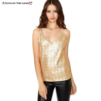 2015 New Summer Women Tops European American Sweet Sexy Gold Sequins Of Fine Straps Vest Fashion