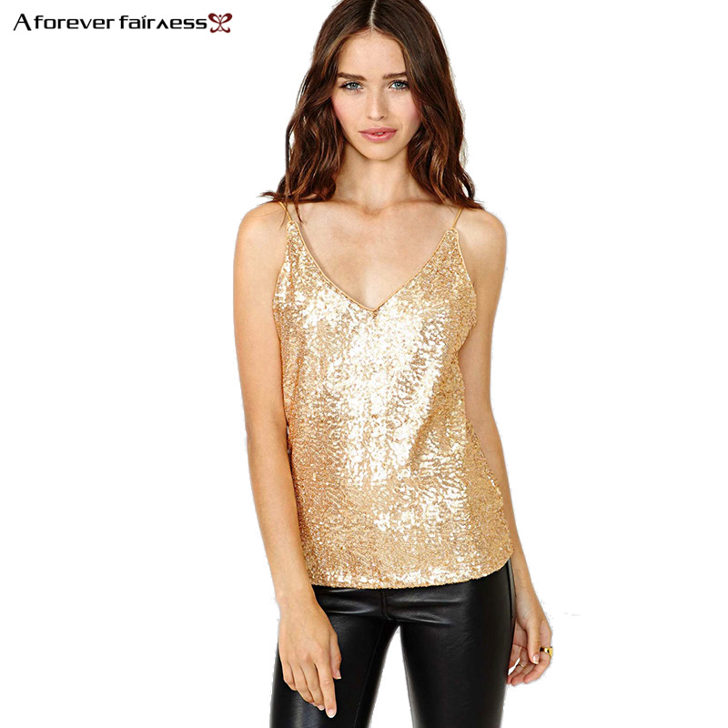 A Foreve Summer Women Sequin Tops Sexy Backless Camis Gold Tops Sequins Spaghetti straps ...