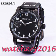 Luxury Corgeut 45mm PVD Case Black Dial White Marks Luminous Hands 6497 Hand Winding movement Men's Mechanical Wristwatches