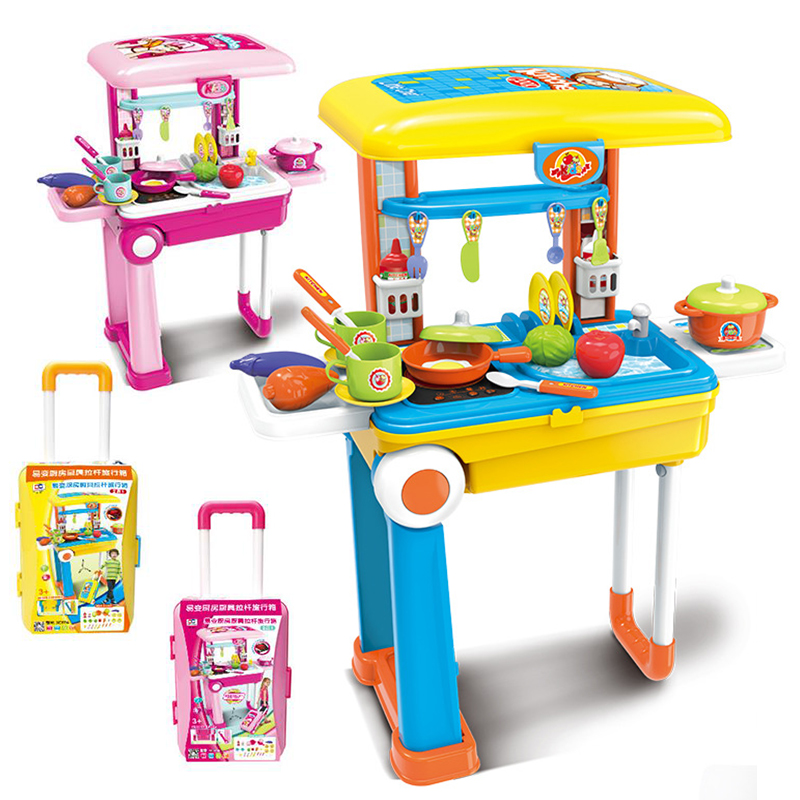 akitoo Kitchen utensils trolley luggage toys play kitchen simulation suit children s puzzle boys and girls