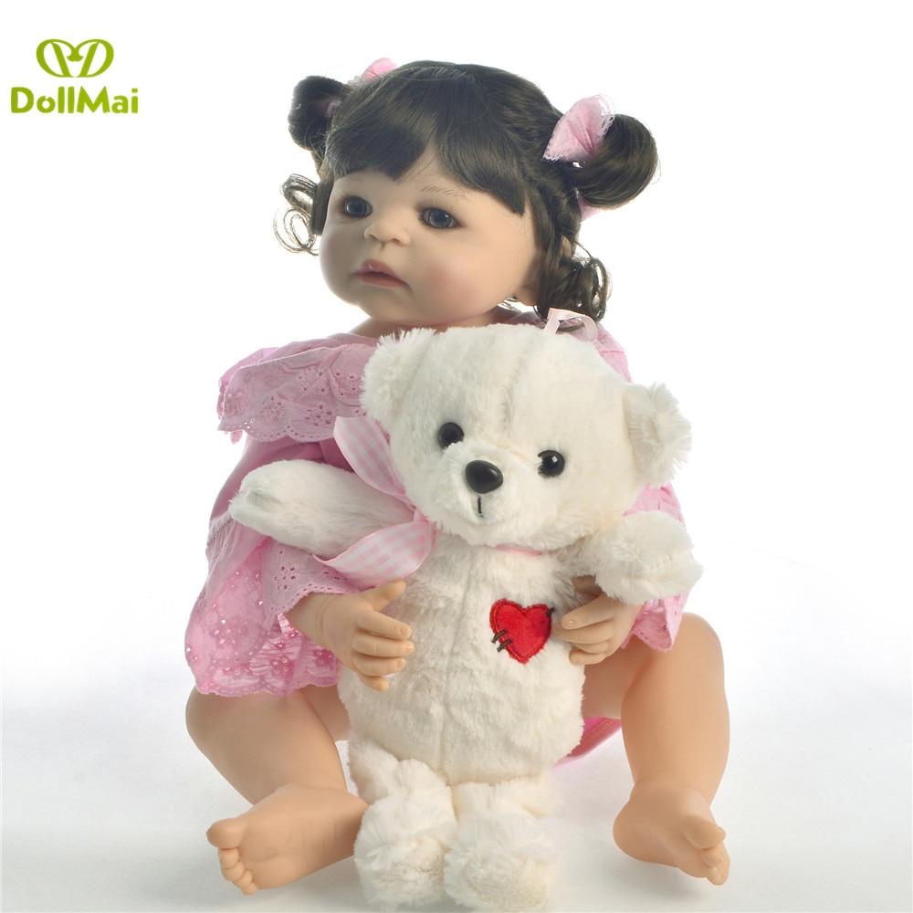 55 cm lisse silicone vinyle fille boneca cheveux bouclés bebes renaître bambin bébé poupées lol original enfants préféré jouet cadeau d'anniversaire - 3