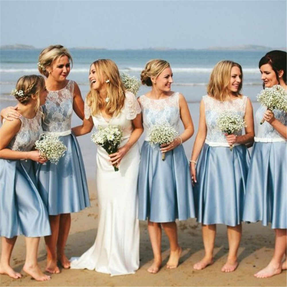 18 Mint Blue Short Bridesmaid Dresses A Line Knee Length Lace Satin Beach  Wedding Party Gowns Cheap Maid Of Honor Dress