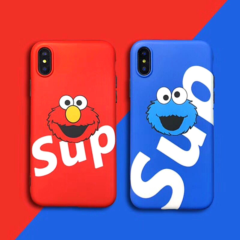 Street Trend Sup Phone Case For iPhone X 8 6 Plus Suprem Cute Cartoon Sesame Street Bus  ...