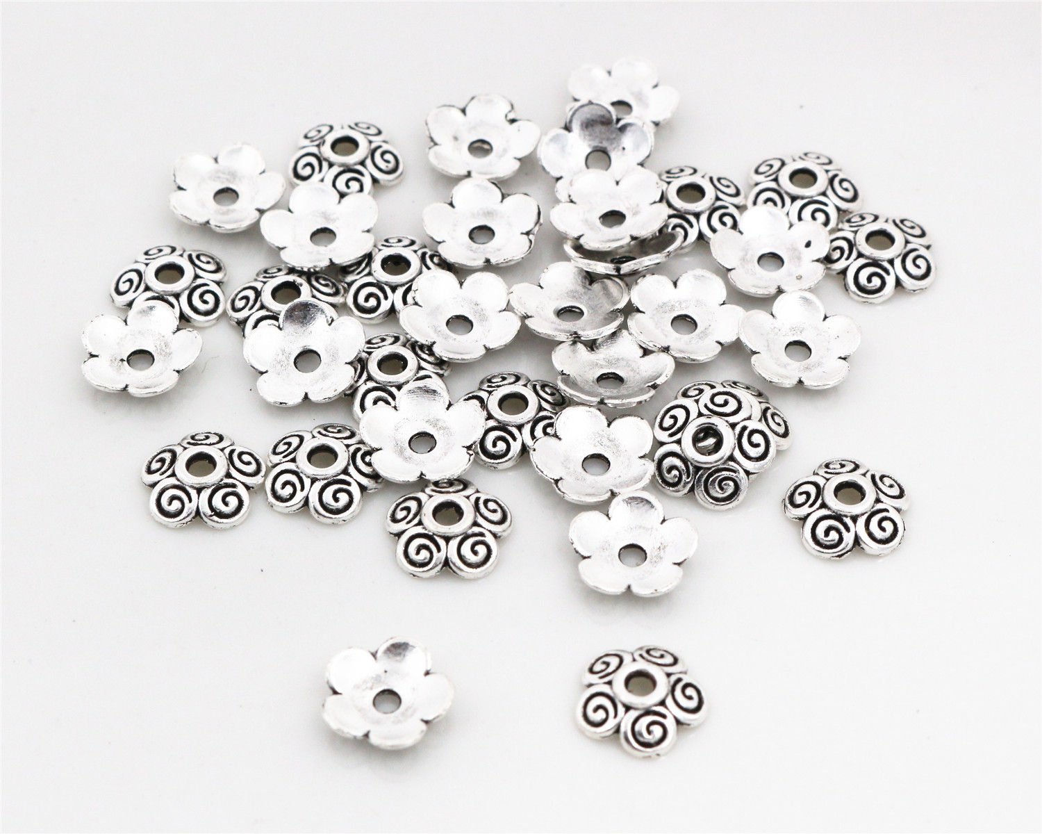 12mm 50pcs Beads Cap Antique Silver Color Flower Shape Bead End Caps Findings For Women Jewelry Making End Caps-Q4-17