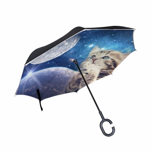 dc7e44ca06157 Custom Cute Cat Reverse Umbrella Windproof Double Layer Inverted Umbrella  Cat Praying to the Starry Sky Women Umbrellas Rain