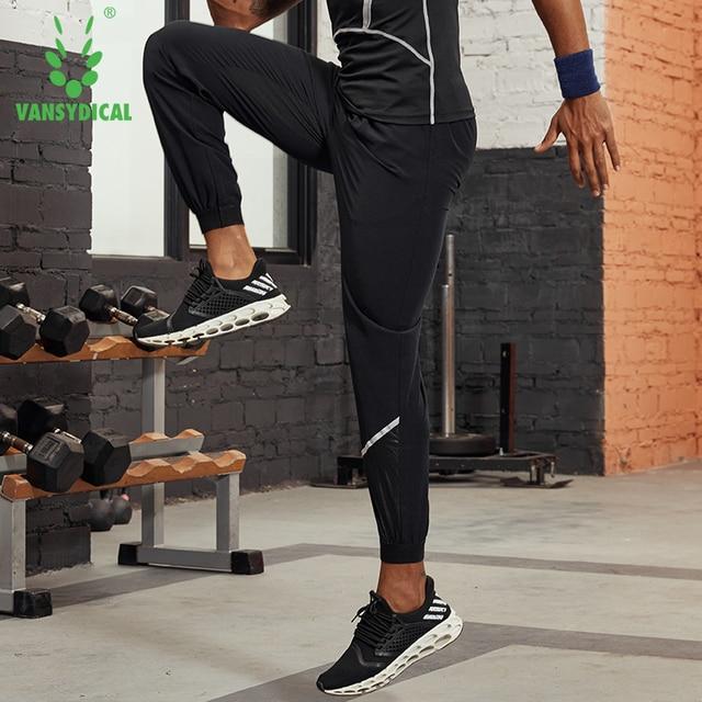 Vansydical 2019 Men's Running Trousers Loose Thin Basketball Training Pants Reflective Fitness Jogger Sweatpants 3