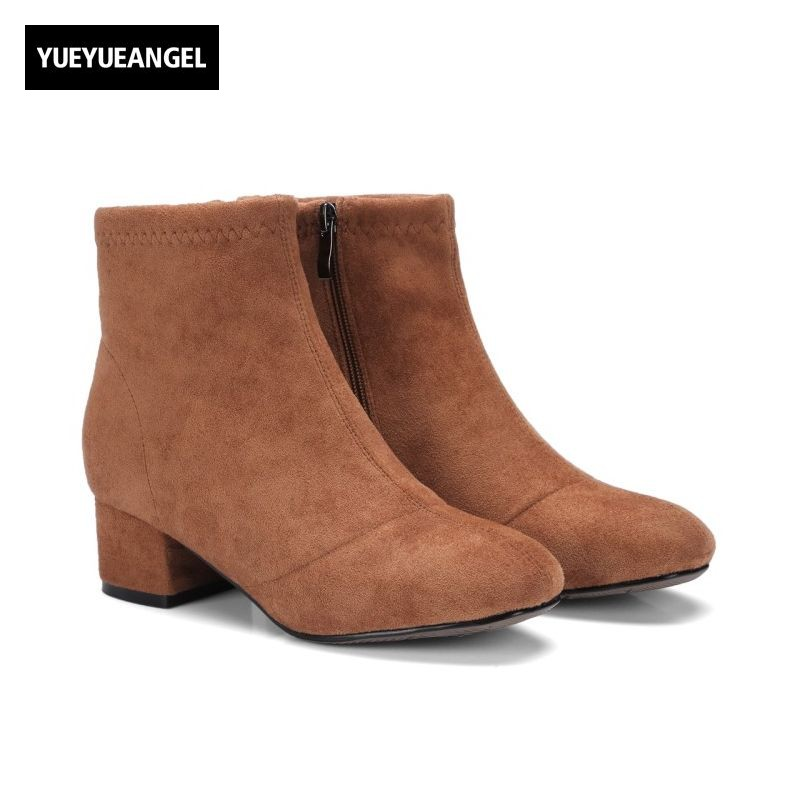 2017 New Fashion Casual Womens Ankle Boots Female Shoes Side Zip Round Toe Faux Suede Footwear Thick Heel Zapatillas Mujer Botas front lace up casual ankle boots autumn vintage brown new booties flat genuine leather suede shoes round toe fall female fashion