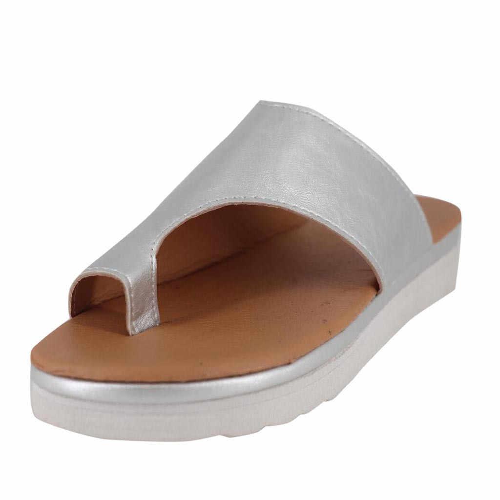 Женская обувь из искусственной кожи; удобные женские повседневные босоножки на плоской платформе с коррекцией стопы и большим носком; ортопедический корректор