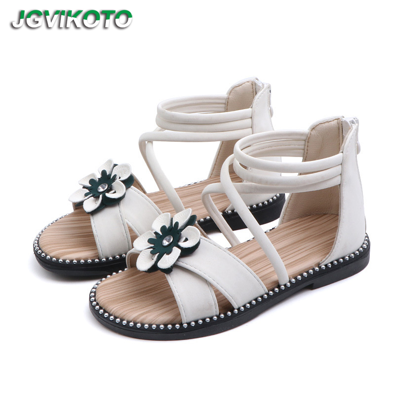0059b3d914c0e Kids Gladiator Sandals Girls Summer Shoes Floral Sandals For Big Children  White Green Flowers Roman Sandals