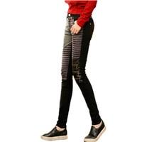 Women Fashion PU leather patchwork jeans tight pants Large size boots trousers Ladies Skinny Elastic Pencil Denim pants Black