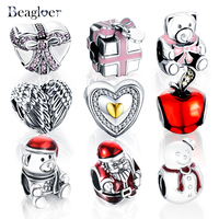 Beagloer 2016 Christmas Gift 925 Sterling Silver Santa Claus Charms Bead Fit Women Bracelets Necklaces DIY
