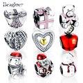 Beagloer marca 100% auténtica plata de ley 925 estilo de la navidad del encanto del grano fit pandora pulsera del encanto auténtico de la joyería diy