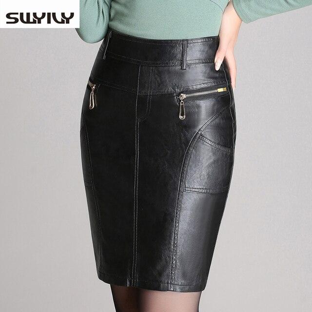 Larga Faldas mujeres 2017 Otoño e Invierno nueva pu falda de gran tamaño  color negro decoración 96c50287f70b