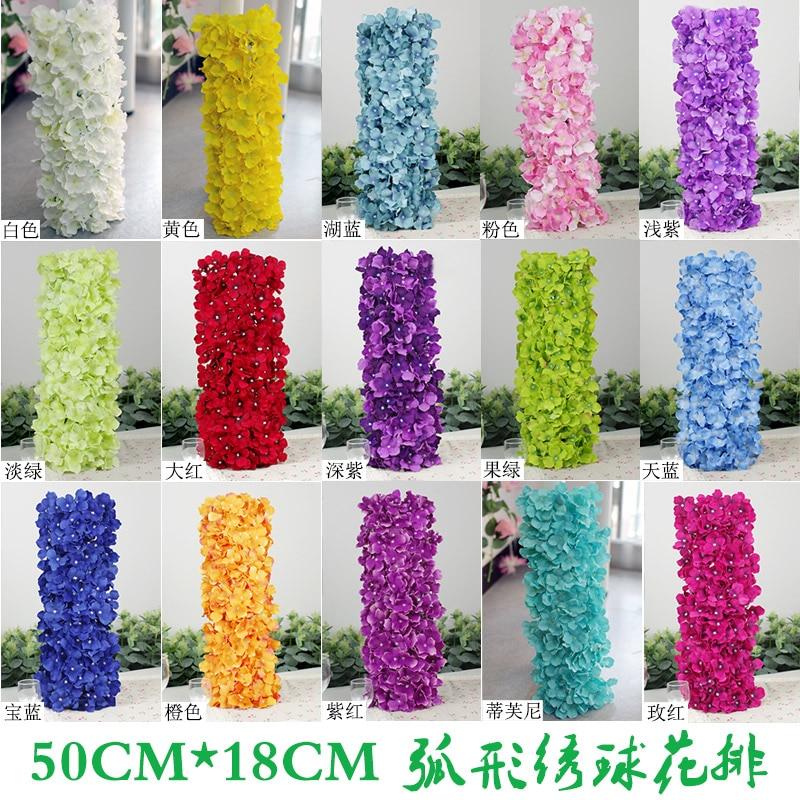Artificial Hydragea Flower Garlands 10Pcs 50*20cm Fake Hydrangeas - Festive and Party Supplies