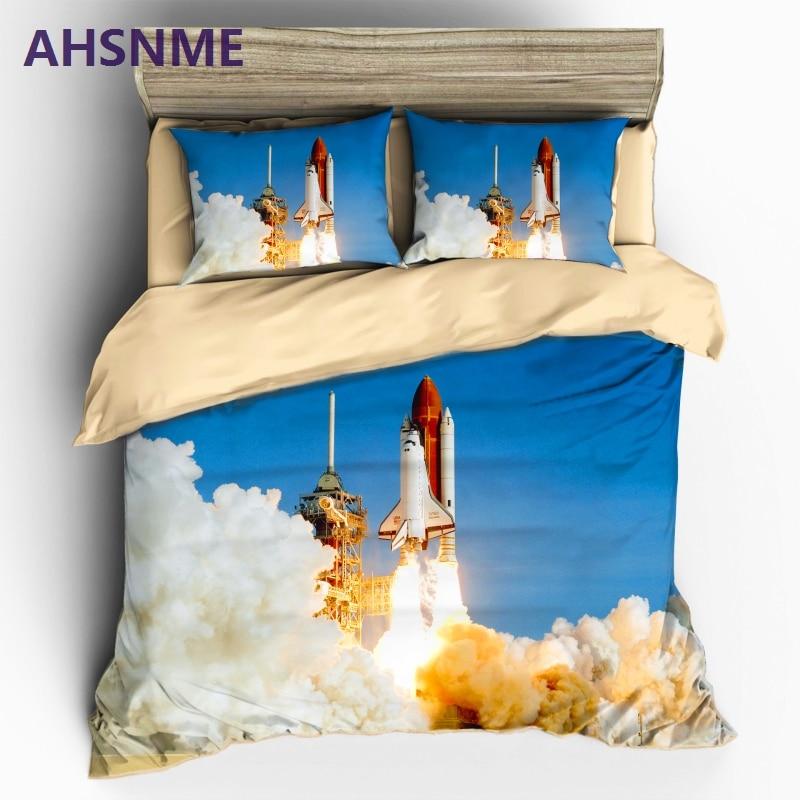 AHSNME Home Textile NASA STS Endeavor OV-105 Style Sanding 3pcs Bedding Set Duvet Cover Beddingset Sheet Pillowcase Bed S