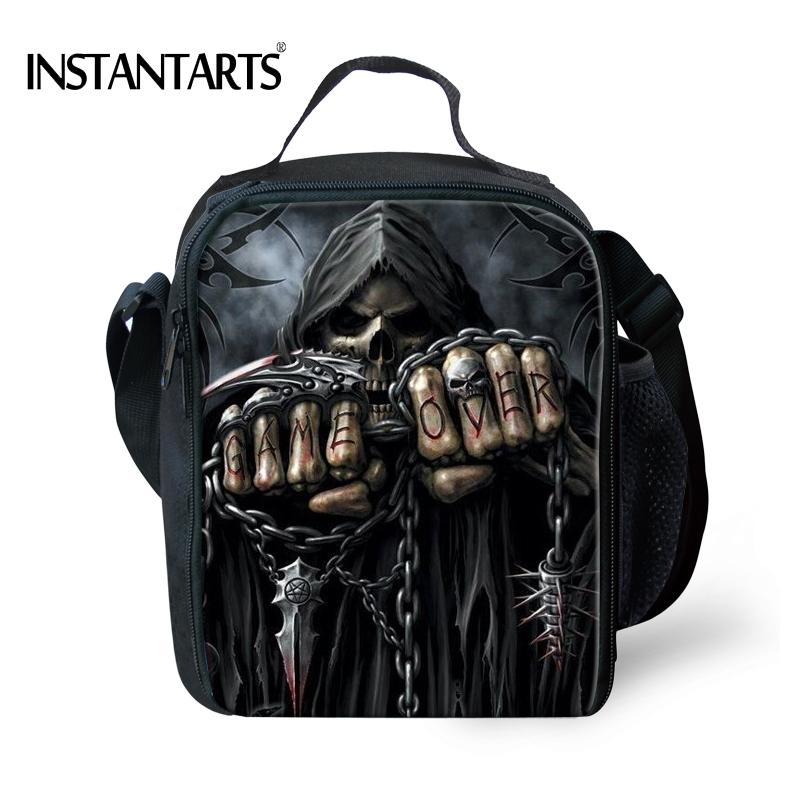 INSTANTARTS Punk 3D Grim Reaper Print Men Lunch Bags Students Child Boy Girl Lunbox Hip Hop Azrael Skull Cooler Travel Meal Bag ...