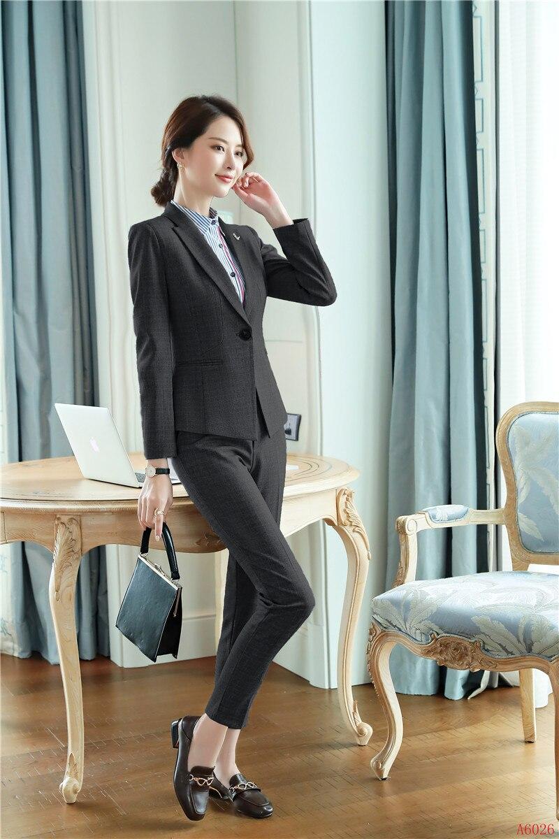 Veste Noir Qualité Ensembles gris Haute Work Wear D'affaires Gris Conceptions Formelle Vêtements Blazer Et Uniforme Costumes Dames Bureau Pantalon Femmes zAAq4pv